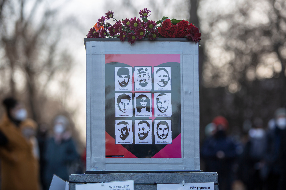 People take part in a memorial demonstration, commemorating the anniversary to the Hanau terror attack, in Berlin, Germany, February 19, 2021. About 800 participants took part in the event in remembrance of the Hanau shootings, in which ten people were killed and five others wounded. The shooting spree was committed on February 19, 2020 by a far-right extremist targeting two shisha bars and kiosks at the Hessian city of Hanau near Frankfurt. The gunman was identified as 43-year-old Tobias Rathjen. The majority of the victims were Germans with migrant backgrounds, among the victims was also the perpetrator's mother. (Photo by Omer Messinger)
