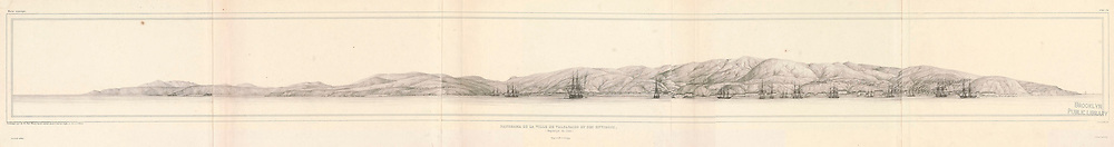 Ancient 19th century Panoramic sketch of Valparaiso, Chile. From the book 'Voyage dans l'Amérique Méridionale' [Journey to South America: (Brazil, the eastern republic of Uruguay, the Argentine Republic, Patagonia, the republic of Chile, the republic of Bolivia, the republic of Peru), executed during the years 1826 - 1833] Atlas By: Orbigny, Alcide Dessalines d', d'Orbigny, 1802-1857; Montagne, Jean François Camille, 1784-1866; Martius, Karl Friedrich Philipp von, 1794-1868 Published Paris :Chez Pitois-Levrault. Publishes in Paris in 1846-1847