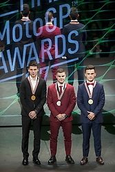 November 12, 2017 - Valencia, Valencia, Spain - Podium of Moto3 Joan Mir, Romano Fenati and Aron Canet during the FIM Awards Ceremony after the Gran Premio Motul de la Comunitat Valenciana, in Palacio de Congresos of Valencia, Spain. Sunday 12th of november 2017. (Credit Image: © Jose Breton/NurPhoto via ZUMA Press)