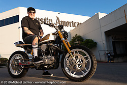 "Chopper Dave on his ""Steel Shoe"" turbo-charged Sportster at the Handbuilt Show. Austin, TX. USA. Sunday April 22, 2018. Photography ©2018 Michael Lichter."