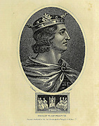 Philip VI of France. Philip VI (French: Philippe; 17 November 1293 – 22 August 1350), called the Fortunate and of Valois, was the first King of France from the House of Valois, reigning from 1328 until his death. Copperplate engraving From the Encyclopaedia Londinensis or, Universal dictionary of arts, sciences, and literature; Volume VII;  Edited by Wilkes, John. Published in London in 1810