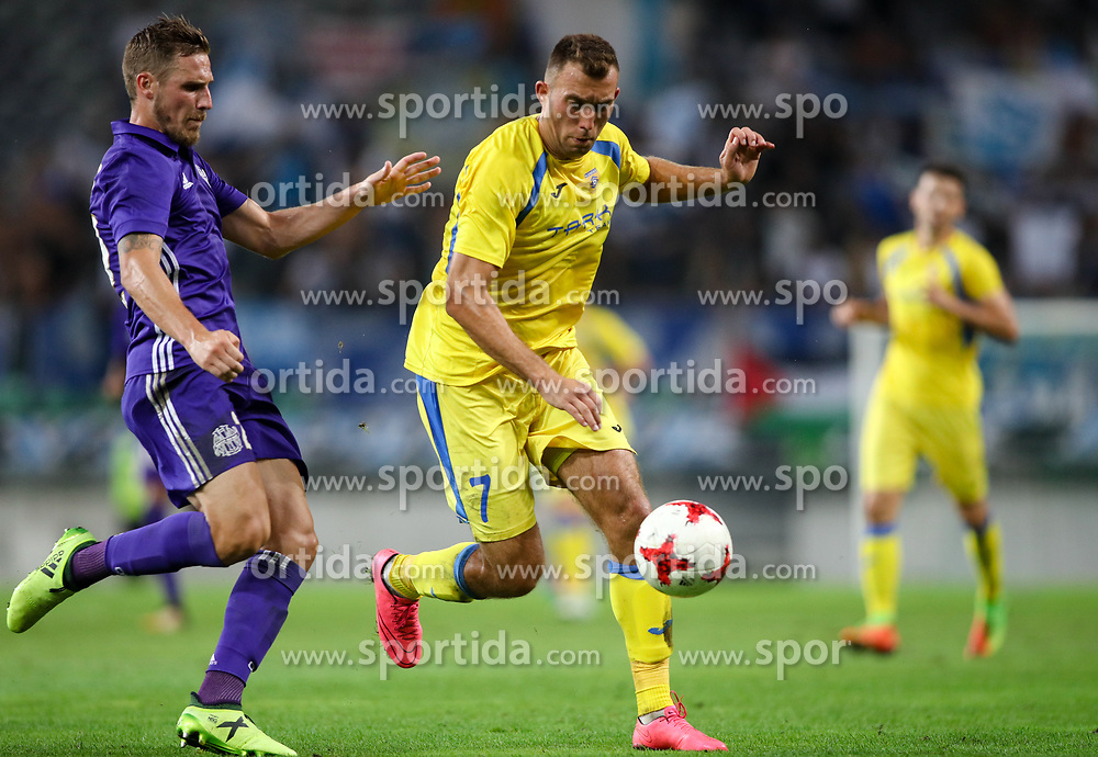 Gregory Sertic of Olympic Marseille and Ivan Firer of NK Domzale during football match between NK Domzale and Olympique de Marseille in First game of UEFA Europa League playoff round, on August 17, 2017 in SRC Stozice, Ljubljana, Slovenia. Photo by Morgan Kristan / Sportida