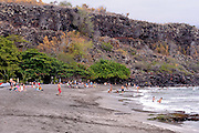 Hookena Beach Park, located on the Big Island's east shore, was once an important inter-island steamship landing site. Kauhako Bay, Kona, Big Island, Hawaii RIGHTS MANAGED LICENSE AVAILABLE FROM www.PhotoLibrary.com