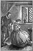 William Lee (c1550-c1610) English inventor of the first frame-knitting machine (1589).  Lee, born in Nottinghamshire, watching his wife industriously knitting by hand.  19th century wood engraving.