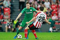 Athletic Club de Bilbao's Inigo Cordoba (r) and Panathinaikos FC's Mattias Johansson during Europa League Play-off, 2nd leg. August 24,2017. (ALTERPHOTOS/Acero)