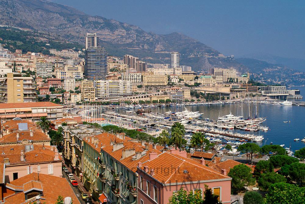 Yachts in the bay of the Mediterranean Sea at Monte Carlo, Principality of Monaco