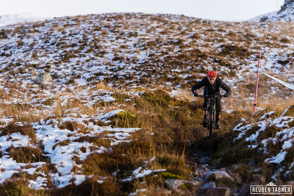 Andrew Cunningham attacks stage one of the Kinlochleven Enduro.