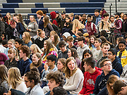 21 OCTOBER 2019 - DES MOINES, IOWA: Students at Roosevelt High School in Des Moines wait for Senator Elizabeth Warren. Sen. Warren is campaigning to be the Democratic nominee for the US presidency in Iowa this week. Iowa traditionally hosts the the first selection event of the presidential election cycle. The Iowa Caucuses will be on Feb. 3, 2020.                 PHOTO BY JACK KURTZ