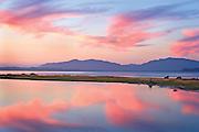 Twilight sky and reflections in Fidalgo Bay, Washington State, Skagit Valley