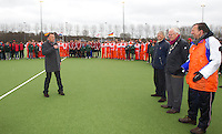 AERDENHOUT - 09-04-2012 - , maandag tijdens de finale tussen Nederland Jongens A en Engeland Jongens A  (3-3) , tijdens het Volvo 4-Nations Tournament op de velden van Rood-Wit in Aerdenhout. Engeland wint met shoot-outs. FOTO KOEN SUYK