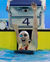 HANGZHOU, Dec. 15, 2018  Katinka Hosszu of Hungary celebrates after Women's 200m Individual Medley Final at 14th FINA World Swimming Championships (25m) in Hangzhou, east China's Zhejiang Province, on Dec. 15, 2018. Katinka Hosszu claimed the title with 2:03.25. (Credit Image: © Xinhua via ZUMA Wire)