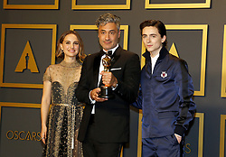 Timothée Chalamet, Natalie Portman, Taika Waititi at the 92nd Academy Awards - Press Room held at the Dolby Theatre in Hollywood, USA on February 9, 2020.