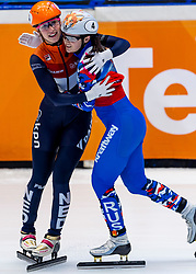 13-01-2019 NED: ISU European Short Track Championships 2019 day 3, Dordrecht<br /> Suzanne Schulting of Netherlands reacts after finishing first in the Ladies 3000m super final during the ISU European Short Track Speed Skating Championships. Sofia Prosvirnova #4 RUS