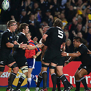Tony Woodcock, New Zealand, (centre) is congratulated by team mates after scoring New Zealand's only try of the match during the New Zealand V France Final at the IRB Rugby World Cup tournament, Eden Park, Auckland, New Zealand. 23rd October 2011. Photo Tim Clayton...