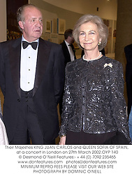 Their Majesties KING JUAN CARLOS and QUEEN SOFIA OF SPAIN, at a concert in London on 27th March 2002.OYP 140