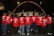 a Large group of volunteers wearing the famous no6 shirt are seen collecting money for the Bobby Moore Fund outside Wembley Stadium ahead of the match. England v Spain, Football international friendly at Wembley Stadium in London on Tuesday 15th November 2016.<br /> pic by John Patrick Fletcher, Andrew Orchard sports photography.
