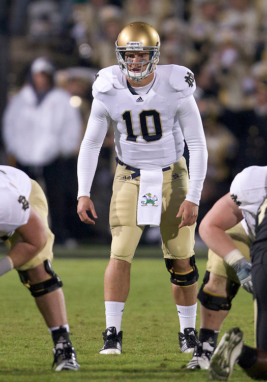 October 01, 2011:  Notre Dame quarterback Dayne Crist (#10) during NCAA Football game action between the Notre Dame Fighting Irish and the Purdue Boilermakers at Ross-Ade Stadium in West Lafayette, Indiana.  Notre Dame defeated Purdue 38-10.
