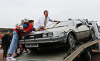 Secret Cinema Presents Back to the Future, Marty McFly, Doc Brown, Delorean time machine car, Earls Court, London UK, 11 July 2014, Photo by Richard Goldschmidt