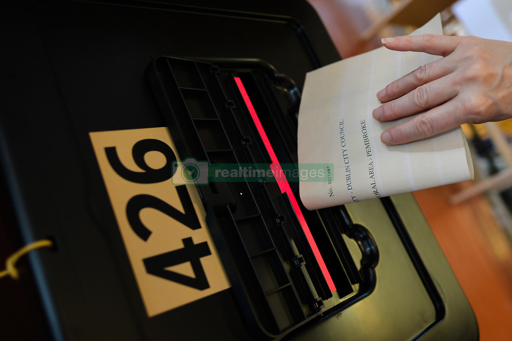 May 24, 2019 - Dublin, Ireland - A voter cast their vote in the European Parliament election and also in the local elections and the referendum on Ireland's divorce laws, in Ranelagh Polling Station. .On Friday, May 24, 2019, in Ranelagh, Dublin, Ireland. (Credit Image: © Artur Widak/NurPhoto via ZUMA Press)