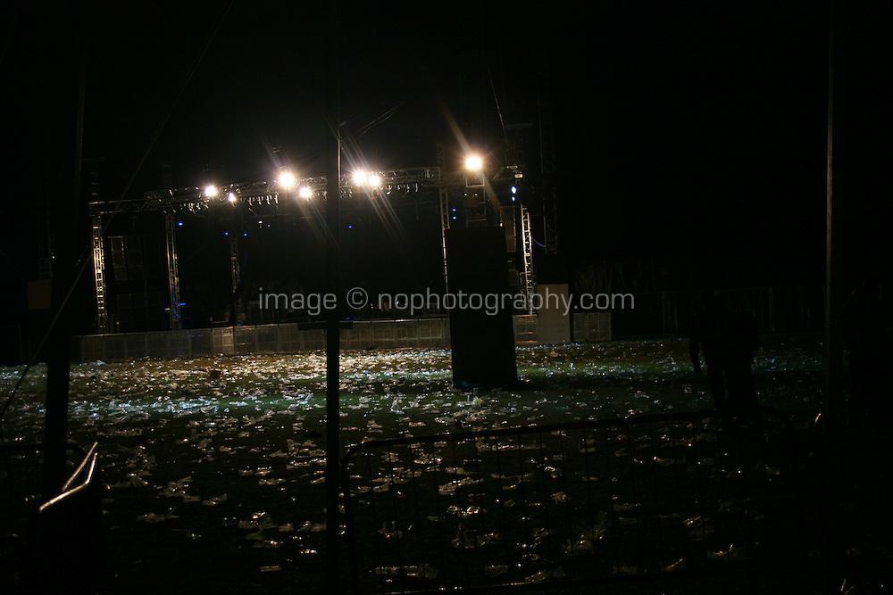 Empty concert tent at night