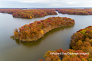63895-16616 Aerial view Stephen A. Forbes State Park Lake in fall Marion Co. IL