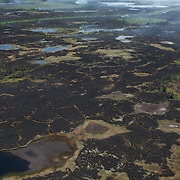 Burned tundra and boreal forest from a wildfire started by lightning near the Deer river polar bear denning area, 50 miles west of Churchill, Manitoba.