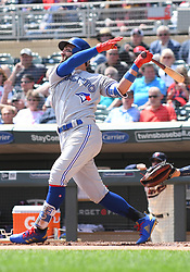 May 2, 2018 - Minneapolis, MN, U.S. - MINNEAPOLIS, MN - MAY 02: Toronto Blue Jays Center field Kevin Pillar (11) at the plate during a MLB game between the Minnesota Twins and Toronto Blue Jays on May 2, 2018 at Target Field in Minneapolis, MN.The Twins defeated the Blue Jays 4-0.(Photo by Nick Wosika/Icon Sportswire) (Credit Image: © Nick Wosika/Icon SMI via ZUMA Press)
