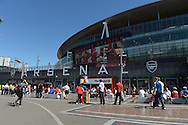 a General view of the crowds gathering outside Emirates Stadium before k/o. Barclays Premier League, Arsenal v West Ham Utd at the Emirates Stadium in London on Sunday 9th August 2015.<br /> pic by John Patrick Fletcher, Andrew Orchard sports photography.