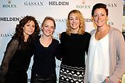 Presentatie 25e editie van het tijdschrift Helden bij Gassan Diamonds , Amsterdam. De nieuwste editie van het blad heeft als thema Mentor & Leerling.<br /> <br /> op de foto:  Barbara Barend, Thijsje Oenema, Marianne Timmer en Jorien ter Mors