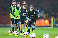 Uruguay defender Martín Cáceres (22) warms up with teammates prior to the Friendly International match between Brazil and Uruguay at the Emirates Stadium, London, England on 16 November 2018.