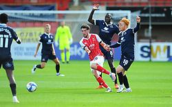 Finn Azaz of Cheltenham Town gets past Toumani Diagouraga of Morecambe- Mandatory by-line: Nizaam Jones/JMP - 12/09/2020 - FOOTBALL - Jonny-Rocks Stadium - Cheltenham, England - Cheltenham Town v Morecambe - Sky Bet League Two