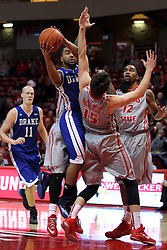 07 January 2015:   Karl Madison slams into Justin McCloud while trying to get room for a shot during an NCAA MVC (Missouri Valley Conference) men's basketball game between the Drake Bulldogs and the Illinois State Redbirds at Redbird Arena in Normal Illinois.  Illinois State comes out victorious 81-45.