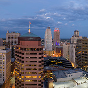 Aerial panoramic photo, Kansas City, Missouri downtown at dusk