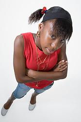 Teenage girl looking thoughtful,