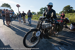 Steve Gonzales of California with his 1915 Harley-Davidson after a long day of riding on the Motorcycle Cannonball Race of the Century. Stage-4 from Chillicothe, OH to Bloomington, IN. USA. Tuesday September 13, 2016. Photography ©2016 Michael Lichter.