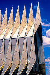 U.S. Air Force Academy Chapel in Colorado Springs Colorado<br /> <br /> This image was produced in part utilizing High Dynamic Range (HDR) processes. It should not be used editorially without being listed as an illustration or with a disclaimer. It may or may not be an accurate representation of the scene as originally photographed and the finished image is the creation of the photographer.