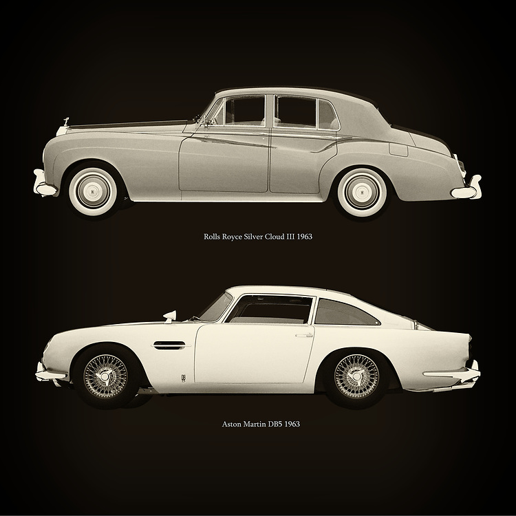 For the lover of old classic cars, this combination of a Rolls Royce Silver Cloud III 1963 and Aston Martin DB5 1963 is truly a beautiful work to have in your home.<br /> The classic Rolls Royce Silver Cloud III and the beautiful Aston Martin DB5 are among the most beautiful cars ever built.<br /> You can have this work printed in various materials and without loss of quality in all formats.<br /> For the oldtimer enthusiast, the series by the artist Jan Keteleer is a dream come true. The artist has made a fine selection of the very finest cars which he has meticulously painted down to the smallest detail. – –<br /> -<br /> <br /> BUY THIS PRINT AT<br /> <br /> FINE ART AMERICA<br /> ENGLISH<br /> https://janke.pixels.com/featured/rolls-royce-silver-cloud-iii-1963-and-aston-martin-db5-1963-jan-keteleer.html<br /> <br /> WADM / OH MY PRINTS<br /> DUTCH / FRENCH / GERMAN<br /> https://www.werkaandemuur.nl/nl/werk/Rolls-Royce-Silver-Cloud-III-1963-en-Aston-Martin-DB5-1963/757781/93?mediumId=1&size=60x60<br /> –