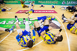 Players of Celje celebrate as National Champions 2017 during trophy ceremony after handball match between RK Celje Pivovarna Lasko and RK Gorenje Velenje in Last Round of 1. Liga NLB 2016/17, on June 2, 2017 in Arena Zlatorog, Celje, Slovenia. Photo by Vid Ponikvar / Sportida