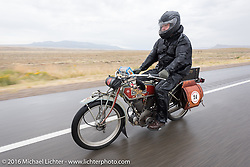 Kelly Modlin of Kansas riding his 1914 Excelsior through the rain during the Motorcycle Cannonball Race of the Century. Stage-11 ride from Durango, CO to Page, AZ. USA. Wednesday September 21, 2016. Photography ©2016 Michael Lichter.