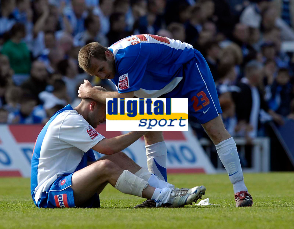 Photo: Jed Wee/Sportsbeat Images.<br /> Hartlepool United v Bristol Rovers. Coca Cola League 2. 05/05/2007.<br /> <br /> Hartlepool's Darren Williams (R) consoles Ben Clark at the final whistle.