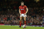 Leigh Halfpenny of Wales prepares to kick a conversion.RBS Six Nations 2017 international rugby, Wales v Ireland at the Principality Stadium in Cardiff , South Wales on Friday 10th March 2017.  pic by Andrew Orchard, Andrew Orchard sports photography