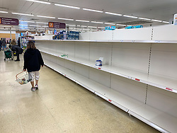 © Licensed to London News Pictures. 10/03/2020. London, UK. Shelves remain empty of toilet rolls at Sainsbury's supermarket on Ladbroke Grove, West London on March 10, 2020. Government has warned the public against stock piling of goods as the COVID-19 strand of Coronavirus continues to spread throughout the UK. Photo credit: Ben Cawthra/LNP