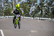 #28 (DOUDOUX Mathilde) FRA during practice at round 1 of the 2018 UCI BMX Supercross World Cup in Santiago del Estero, Argentina.