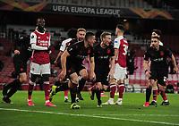 Football - 2020 /2021 UEFA Europa League - Quarter-Final - Arsenal vs Slavia Prague - Emirates Stadium<br /> <br /> Tomas Holes of Slavia Prague celebrates scoring their equalising goal in the last minute<br /> <br /> Credit : COLORSPORT/ANDREW COWIE