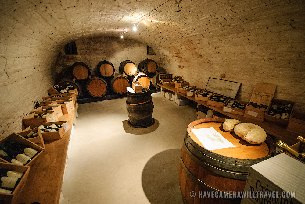 Cellar of restaurant in Chablis