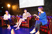 Repro Free:  1st thought Talks event as part of 40th Galway International Arts Festival were Maureen Gafney, , James Kavanagh and Evelyn McClaferty at the O'Donoghue Theatre, NUI,Galway . Photo:Andrew Downes, xposure .