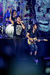 INGLEWOOD, CA - SEPTEMBER 24: Frontman Fher Olvera, drummer Alex Gonzalez and guitarist Sergio Vallin of Mana performs on stage during a stop of the band's Latino Power Tour at the Forum on September 24, 2016 in Inglewood,California USA. Byline, credit, TV usage, web usage or linkback must read SILVEXPHOTO.COM. Failure to byline correctly will incur double the agreed fee. Tel: +1 714 504 6870.