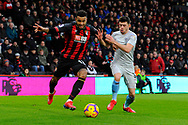Joshua King (17) of AFC Bournemouth battles for possession with Aaron Cresswell during the Premier League match between Bournemouth and West Ham United at the Vitality Stadium, Bournemouth, England on 19 January 2019.