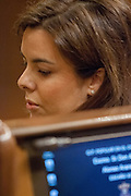 Soraya Saenz de Santamaria, representative of Spain Government speaks to opposition leader