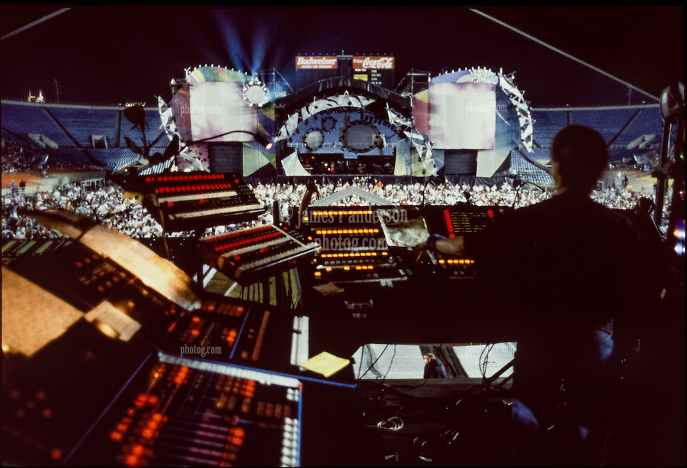 Grateful Dead Live at Soldier Field Chicago. The night before the last show ever performed by the band, July 8, 1995. Stage lighting and set design by Candace Brightman. Photographed from the lighting booth for Ms. Brightman and Grateful Dead Productions.